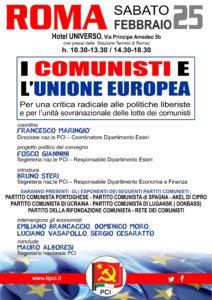 Locandina Convegno PCI a Roma il 25 febbraio