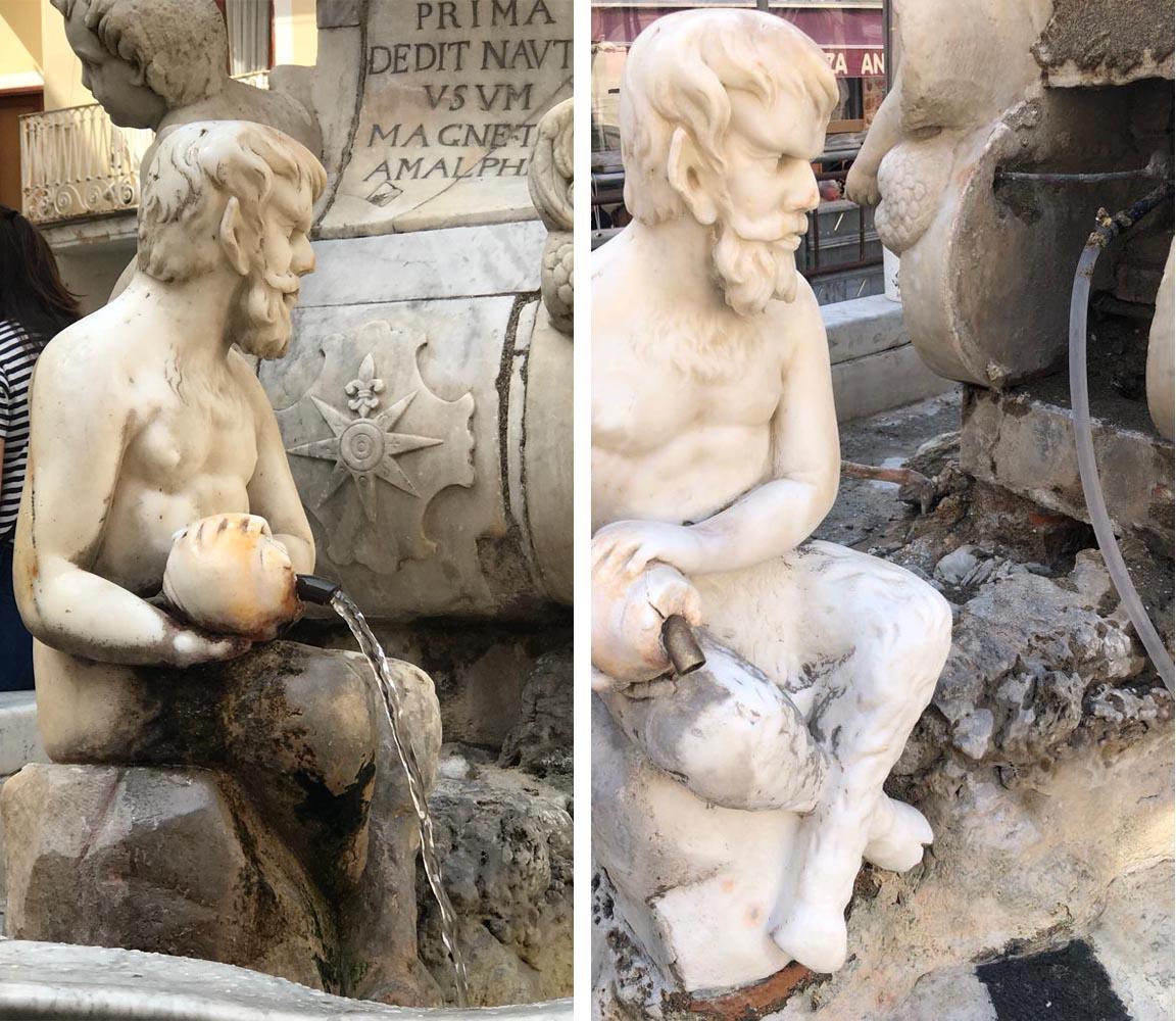 pulicano personaggio fontana prima e dopo il restauro