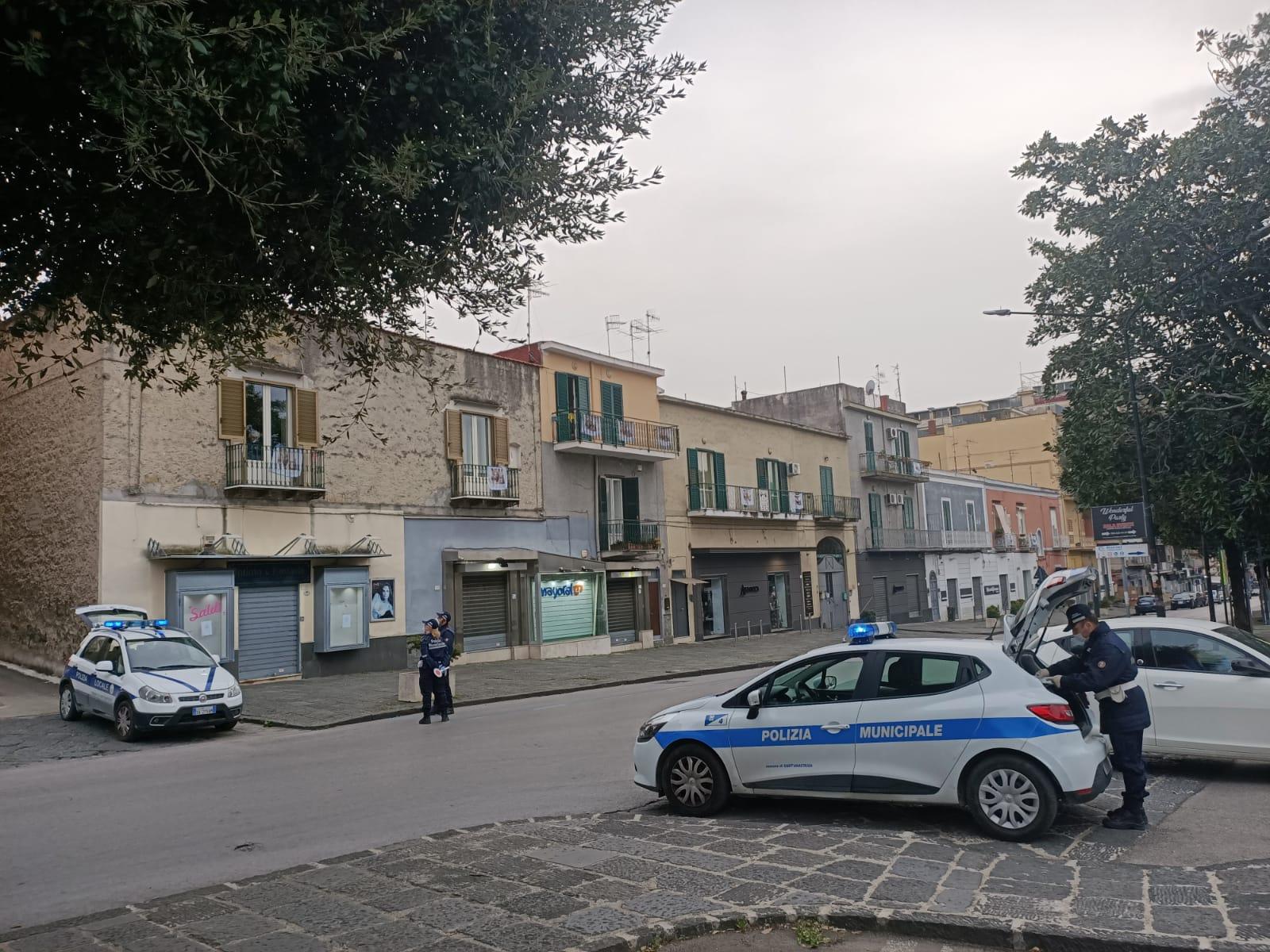 Polizia Municipale in posto di blocco