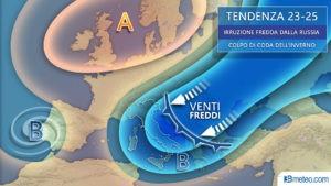 tendenza 23-25 marzo meteo italia