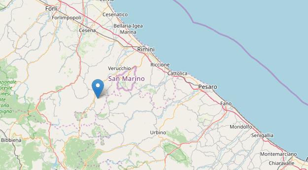 L'epicentro della scossa di terremoto a Maiolo (Rimini) l'8 aprile 2020