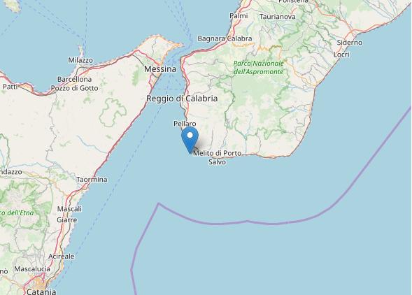 L'epicentro della scossa di terremoto nello Stretto di Messina oggi 4 aprile 2020
