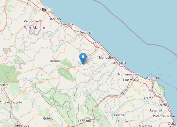 L'epicentro del terremoto a Sant'Ippolito (Pesaro Urbino) oggi 6 aprile 2020