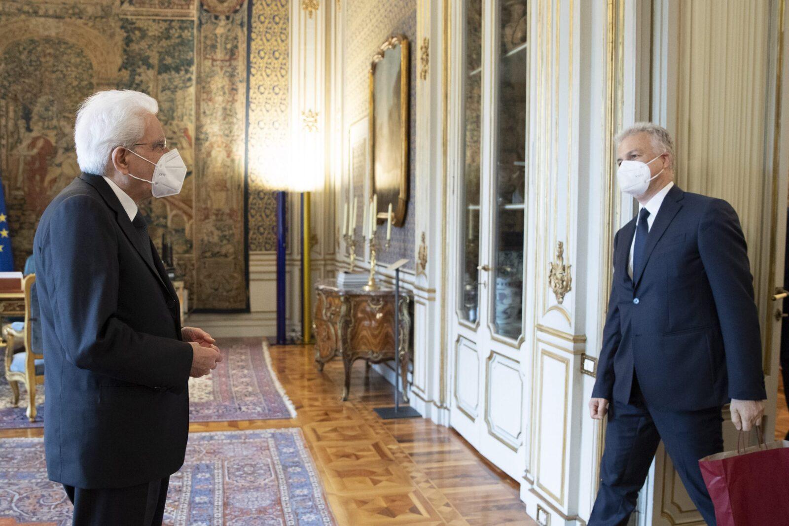 Il Presidente della Repubblica Sergio Mattarella incontra Giacomo di THIENE,Presidente Associazione Nazionale Dimore Storiche Italiane