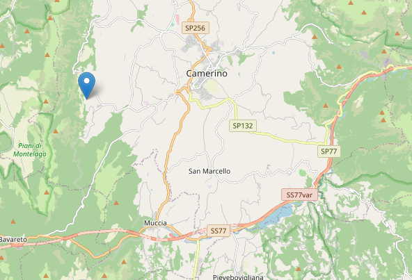 terremoto stasera 13 luglio alle 21:47 M2.4 vicino Camerino